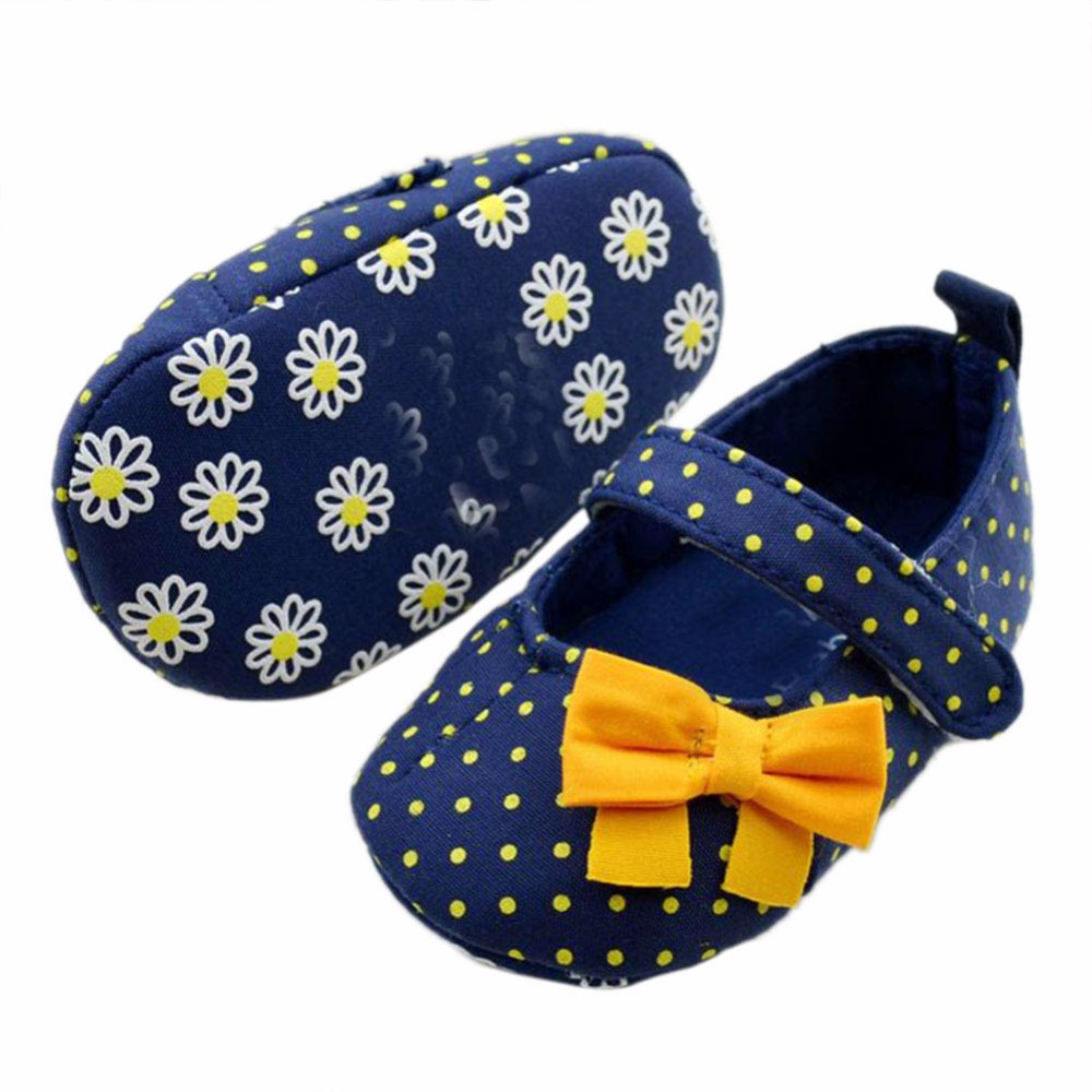 Kids Baby Girls Toddler Polka Dot Bows Crib Shoes Soft Prewalker 3-12M Baby Infant Shoes First Walkers Newborn
