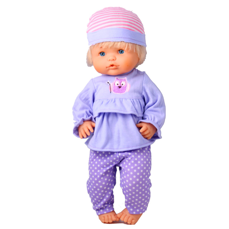 Clothes For Dolls Fit 40cm 41 Cm Nenucos Doll Nenuco Ropa Y Su Hermanita Purple Long Sleeves T-shirt Purple Dots Pants With Hat