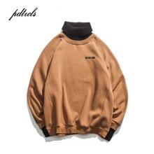 Suéter de gola alta bordado masculino, pulôveres casuais de gola alta para invernoPulôveres