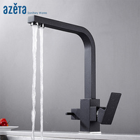 Azeta Rotate Water Purification Kitchen Faucet Black Brass Kitchen Mixer Tap 3 Way Faucet Drinking Water Kitchen Tap AT3288BP