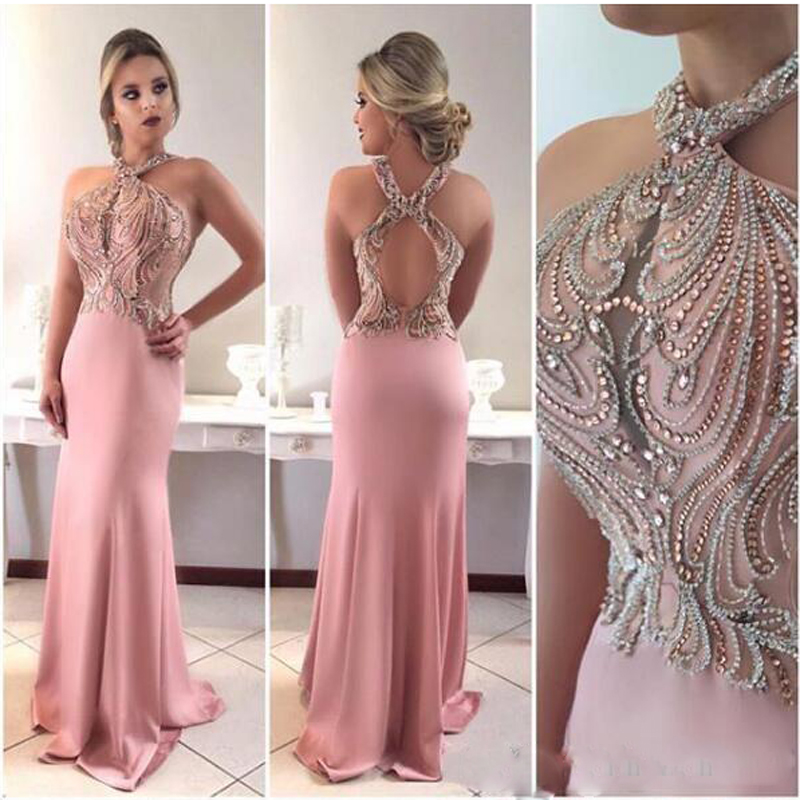 2019 Sexy Pink Mermaid   Prom     Dresses   Halter Keyhole Crystal Beaded Sleeveless Long Evening   Dress   Hollow Back Dubai Robe de soiree