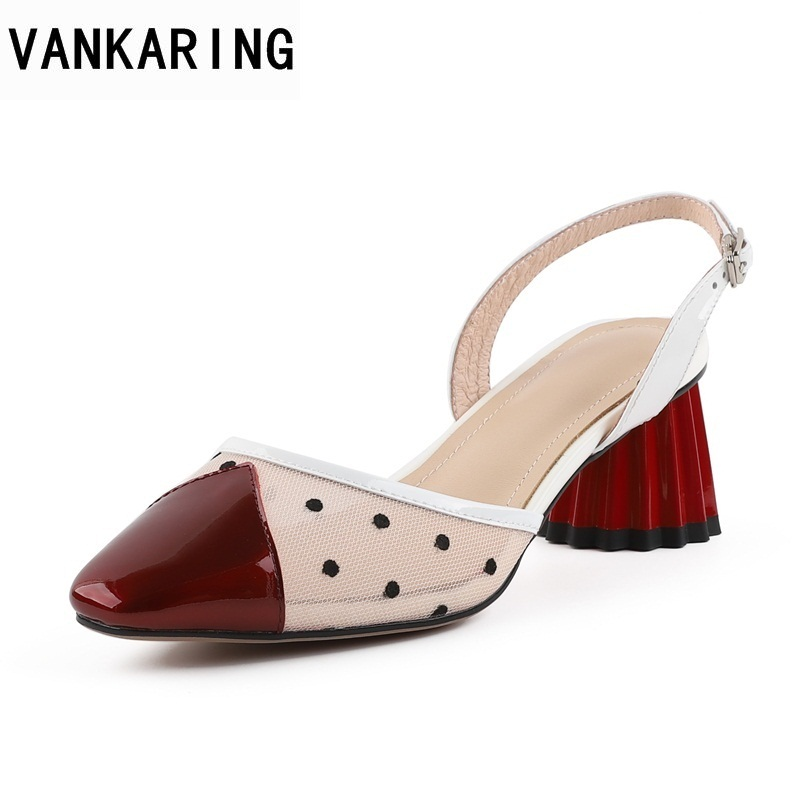 13961063ea Vankaring Stil Punkt Schuhe Party Frauen Leder white Kleid Damen Echtem  Sandalen Süße Seltsame Patchwork Red ...