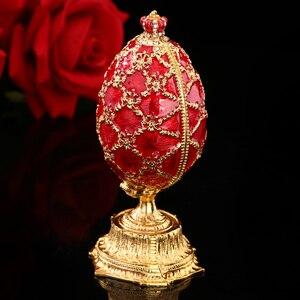 Image 5 - QIFU Handwerk Faberge Ei mit Schöne Kleine Burg Metall Geschenk