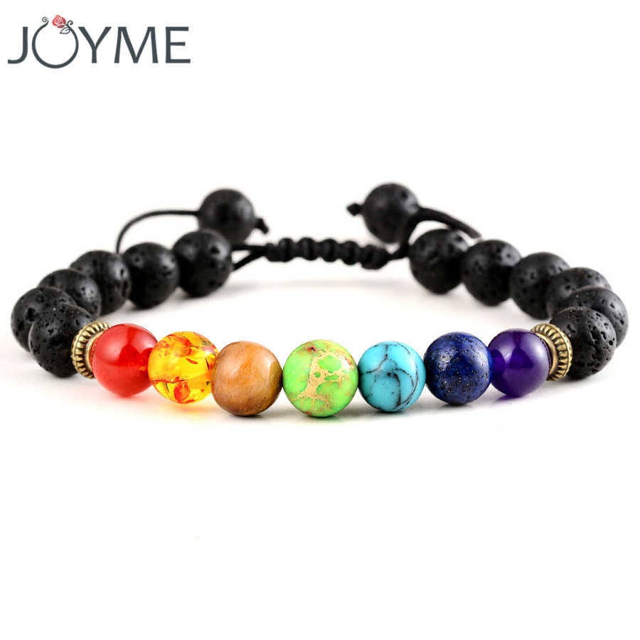 c5e9ff9c17bbc7 7 Chakra Bracelet Men Women Black Lava Healing Balance Reiki Prayer Natural Stone  Beads Yoga Strand