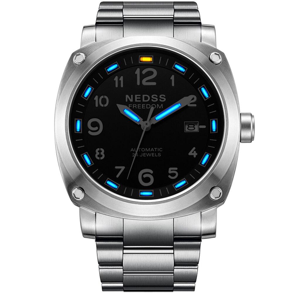 a6bb60476b9 Marca de luxo seiko NEDSS Suíço H3 trítio luminosa mecânico automático do  relógio de pulso de aço 50 m à prova d  água negócio Relógio Militar em  Relógios ...