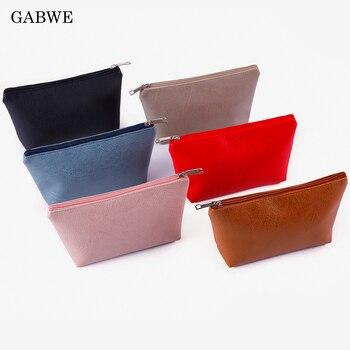 Bolsa de maquillaje GABWE para mujer, bolsa de cosméticos de cuero PU,...