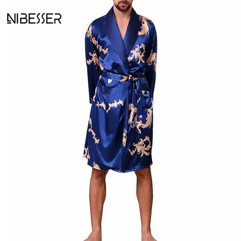 NIBESSER Men's Summer Casual Single Piece Silk Robe Large Size Men's V-neck Thin Section Simulation Silk Long-sleeved  Robe