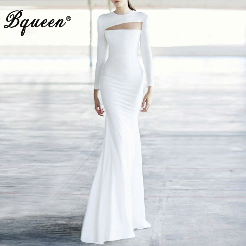 Bqueen 2017 New Sexy Hollow Out O Neck Full Sleeve Floor Length Lady Dress Elegant Mermaid