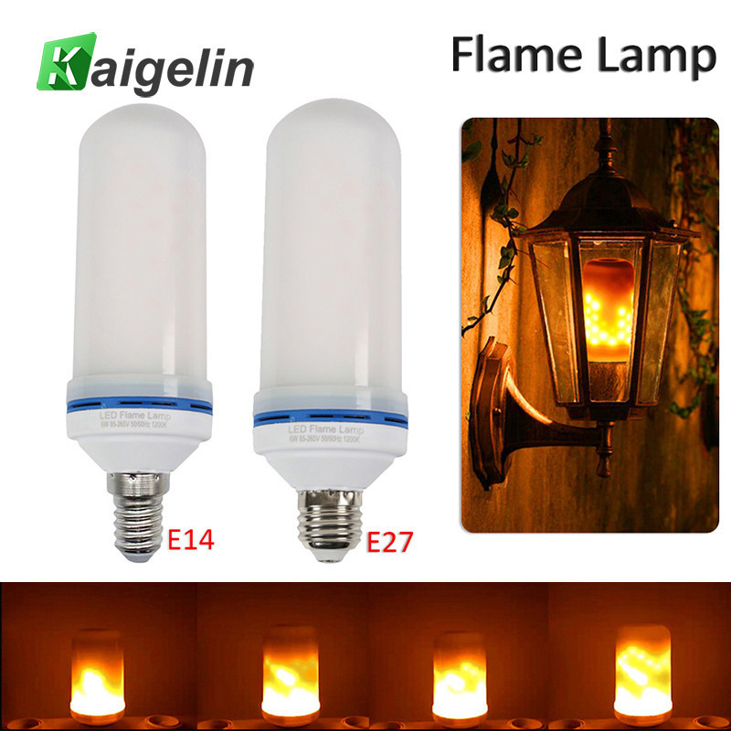 Kaigelin 5W LED Flame Effect Bulb 85-265V LED Flame Light Bulb E27 E14 Flickering Emulation Lamps For Bar House Decoration