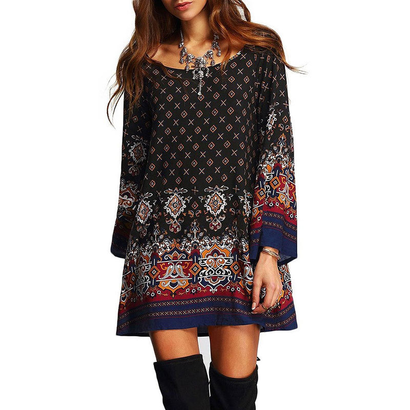 Holiday Dress Round Neck Ethnic Printed Oversize Summer Club Wear Women Loose