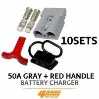 50 Amp Grau Stil Stecker Terminal Mit Grau Griff  Schwarz Staub Abdeckung Kappe x 10 Sets|Akku aufladen-Einheiten|Kraftfahrzeuge und Motorräder -