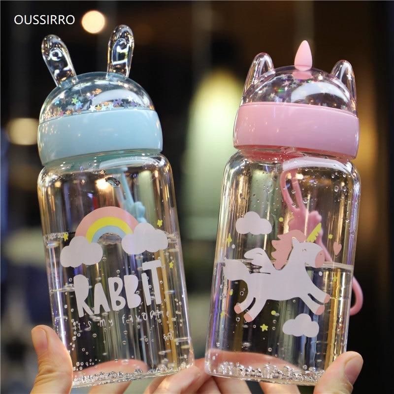 OUSSIRRO Mug Glass Cute Teacup Drinking-Cup Creative Portable Unicorn And Fruit Cartoon