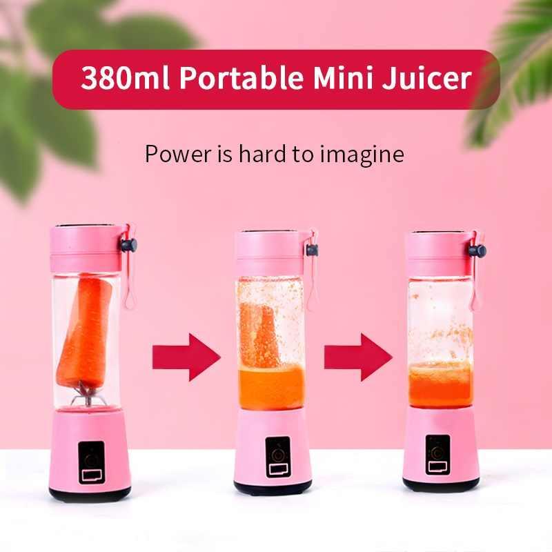 mixer mini liquidificador portátil juicer espremedor de laranja elétrico juice blendjet usb blender maquina suco smoothie copo 380ml portátil Misturador recarregável elétrico do batido de USB do espremedor