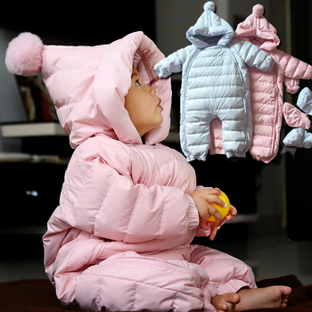 2017 Baby Winter Clothing Warm Hooded 90% Duck Down Baby Romper Newborn Baby Boy Girl Jumpsuits Children Snowsuit Down Clothes 4