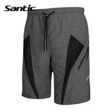 Santic Desmontable Cojín ropa deportiva Para Hombre Inamovible De Espuma Acolchado Pantalones Cortos de Ciclismo MTB Downhill Pantalones Cortos Grises Ciclismo C05017