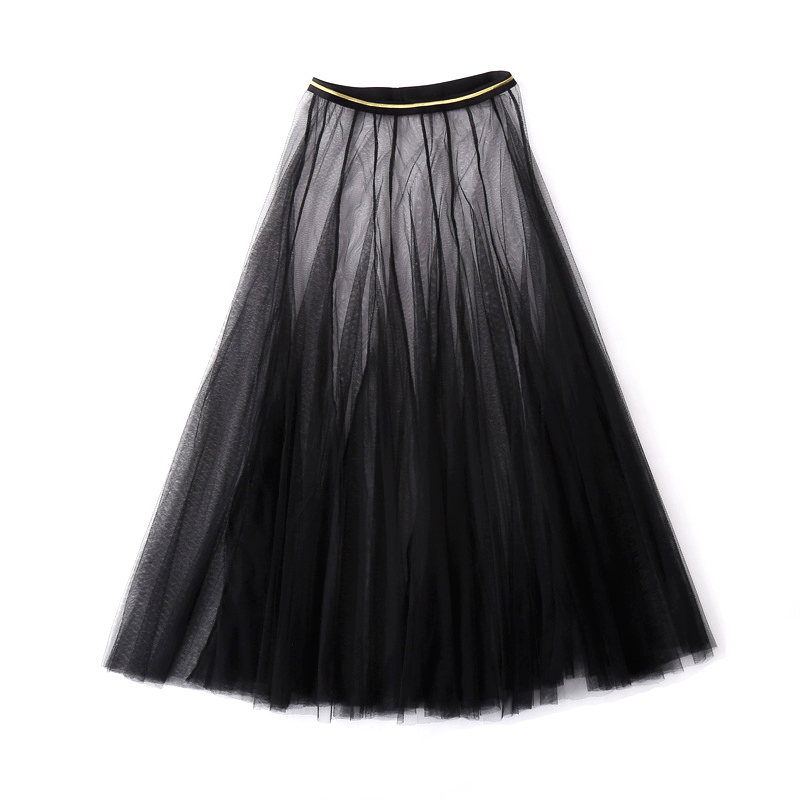 Adult Ballerina Black Lace Swan Lake Dance Performance Long Tulle Elastic Waist Ballet Skirts Adults Big Swing Mesh Skirt