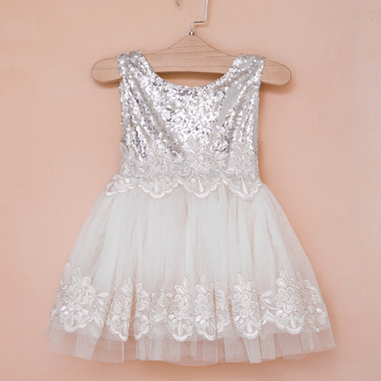 Free shipping Princess sleeveless sequined summer ball gowns lace party dress Kids Girls bling wedding dancing