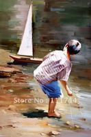 Oil painting for kids room modern art Boy Playing with a Toy Boat 100% hand Painted High quality