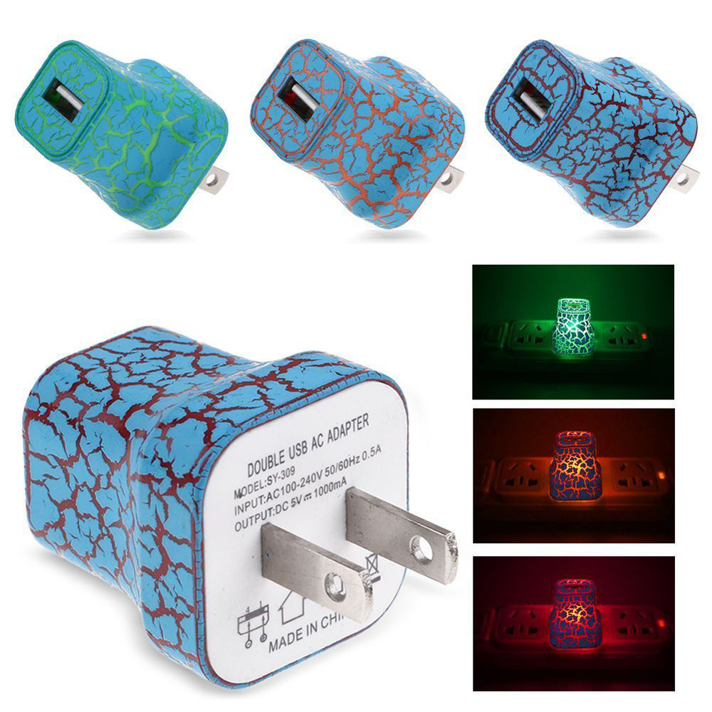 Lights Up US Plug Phone Charger 5V/1A LED USB For Home Phone Travel AC Wall Charging Charger Power Adapter Cracked Stylish