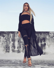 Stretch Jeans High Waist Side Lacing Gothic Pants Zipper Splicing