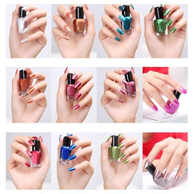 12 colores 8 ml espejo metálico Esmaltes de uñas sexy color acero ...