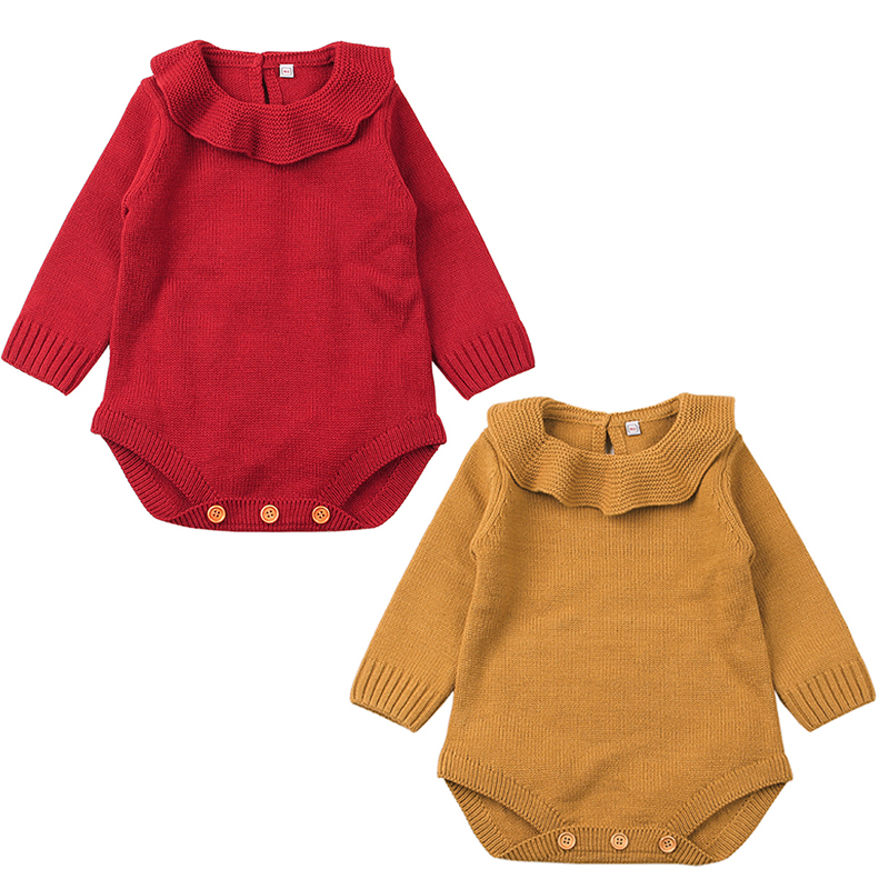 Lovely Newborn Baby Boy Girl Long Sleeve Cape Collar Autumn Winter Knitting Romper Jumpsuit Warm Outfit Baby Clothes 0-24M