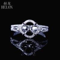 HELON 6 5mm Round Cut Solid 14k White Gold Semi Mount Pave Fine Diamonds Ring Women