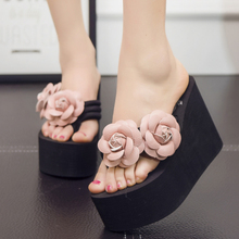 2017 New Handmade Women Sandals Fashion Flower Summer Wedges Flip Flops Platform Slippers Shoes slippers
