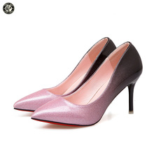 FEETSAY 2017 New Sexy 8CM Height Heels Women High Heels Pointed Toe Gradient Pumps  Patent Leather Shallow Thin Heels Shoes