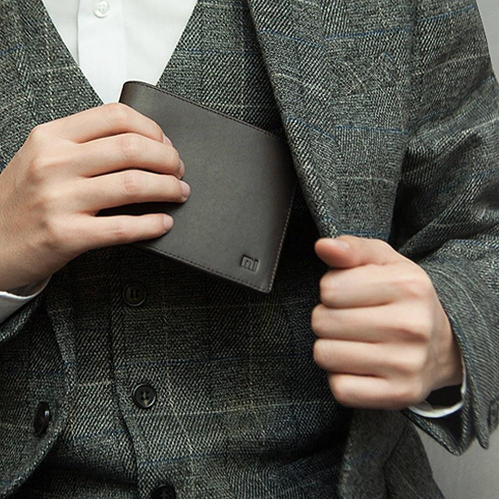 New Original Smart Xiaomi Wallet Genuine Leather Black Purse Man Stylish Business Cowhide Double Fold Standard Wallets Holder Mi