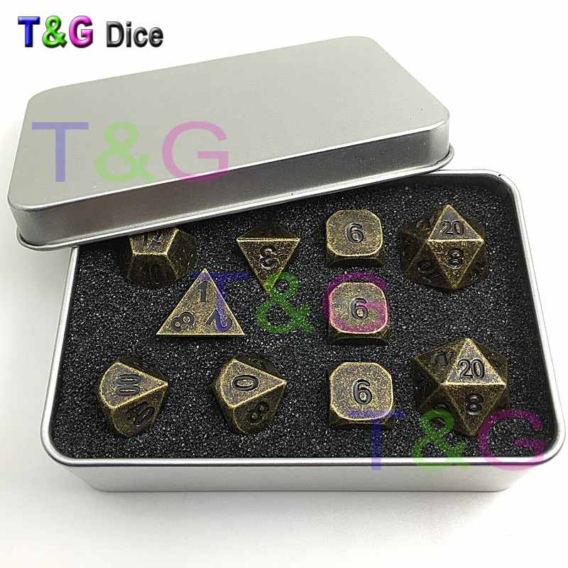 Set of 10 Old Gold Copper Colored Polyhedral Metal Dice 16mm d6 RPG or dnd