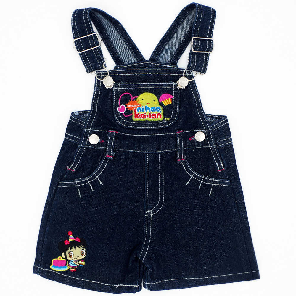 Lovely Pattern Random Color Baby Boys Girls Bib Jeans Jumpsuits Sling Pants Children Denim Overall Trousers Brand Kids Clothes