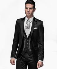 New Arrival One Button Black Groom Tuxedos Groomsmen Men's Wedding Prom Suits Custom Made (Jacket+Pants+Vest+Tie) K:465