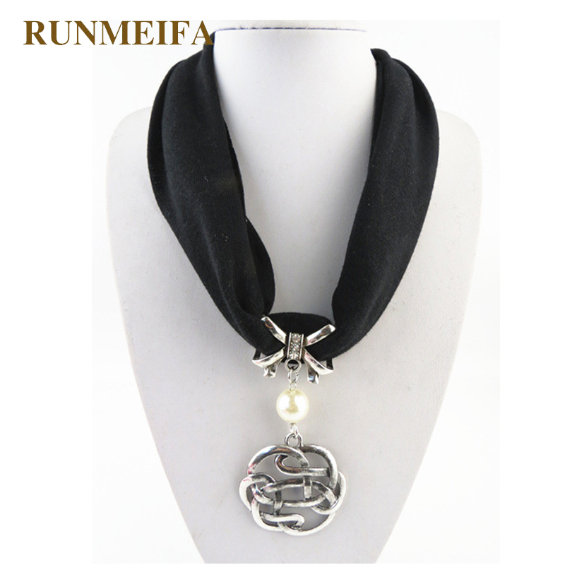 [RUNMEIFA] beautiful multicolor Woman metal alloy Jewelry Pendant Necklace Scarf jewelled chain pendent charm scarves