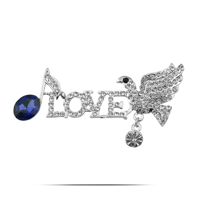 f29c0e750 B204 Love Peace Dove Brooches For Women Gold And Silver Color Jewelry  Rhinestone Pins And Brooches Luxury Female Lapel Pin