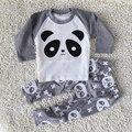 2016 primavera e no outono 0-24 meses das crianças vestuário de moda de nova algodão padrão panda roupas menino de manga comprida