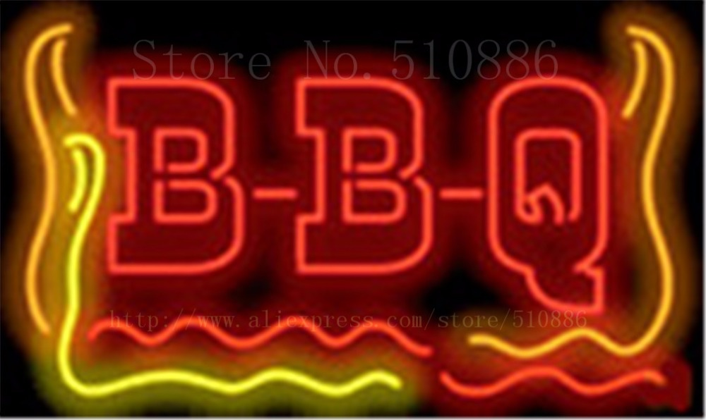 "New B-B-Q Open BBQ  Barbeque Glass Tube neon sign Businese Handcrafted Light Outdoor Shop Store Signs Signboard Signage 19""x15"