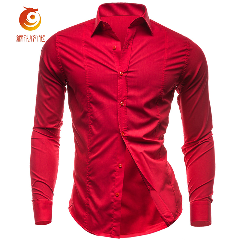 Red shirt men long sleeve solid slim fit shirt 2017 casual for Athletic fit dress shirts