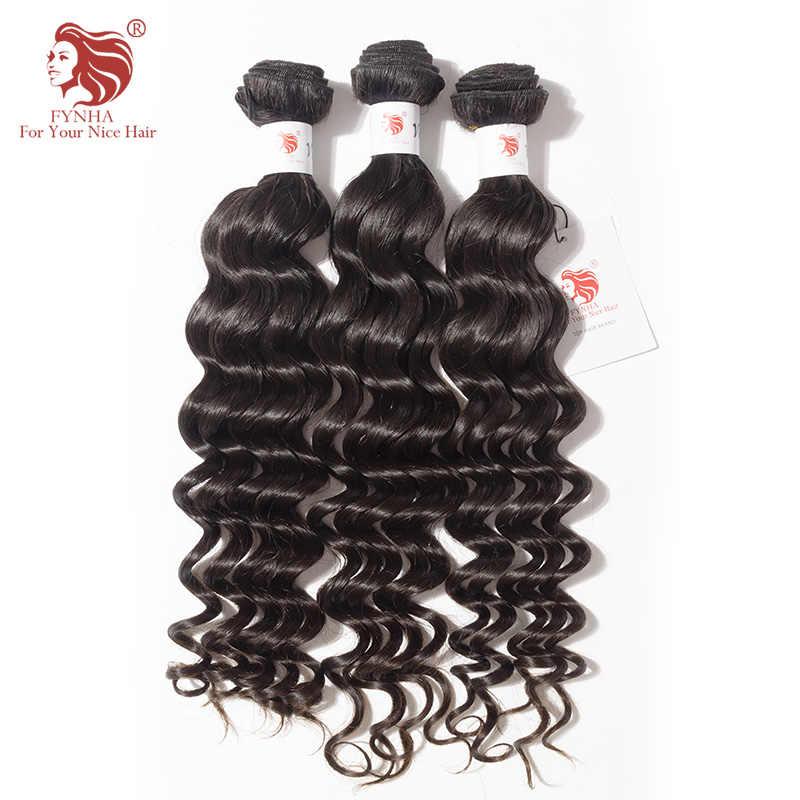 [FYNHA] 3 Bundles Brazilian Virgin Hair Loose Deep Wave Weave Human Hair Extensions Natural Black Bundles Deal