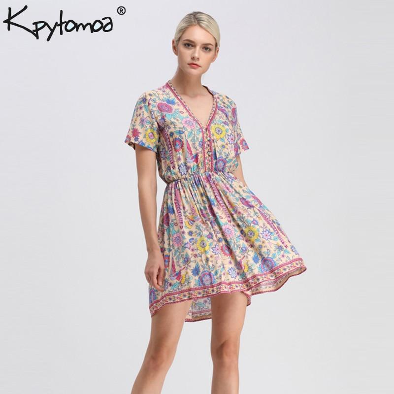 Boho Chic verano Vintage Floral impresión falda Mini vestido de las mujeres 2018 de moda cuello en V botones rayón playa Vestidos Mujer