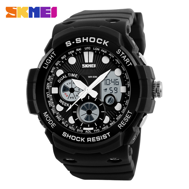 SKMEI 1205 Men Sport Dual Time Watch Outdoor Sports Watches Chronograph Alarm Clock Water Resistant Resin Glass Wristwatches