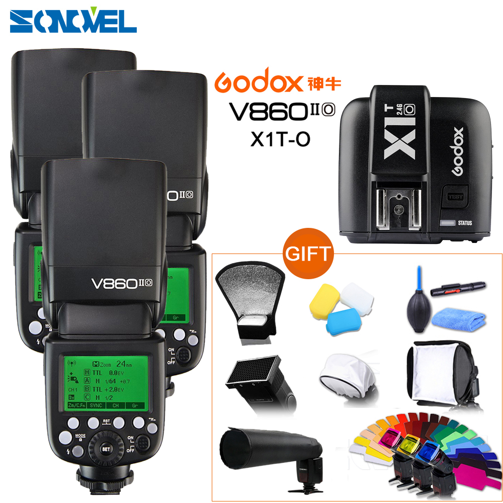Godox 3xV860II O Flash Speedlite Li ion Battery TTL HSS 1/8000 2.4G+ X1T O Flash Trigger For Panasonic Olympus Free DHL
