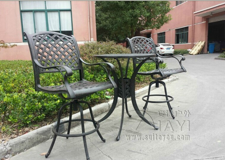 3 Piece Cast Aluminum Patio Furniture Garden Furniture Outdoor Furniture  Bar Chair Bar Table