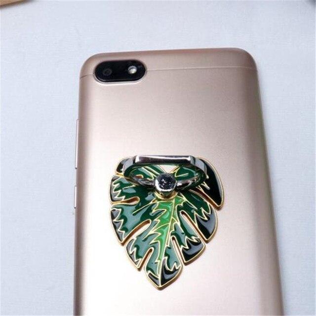 Metalowe zielone drzewo pozostawia uchwyt do telefonu uchwyt samochodowy stojak palec pierścień uchwyt do smartfona uchwyt telefonu komórkowego na wszystkie telefony