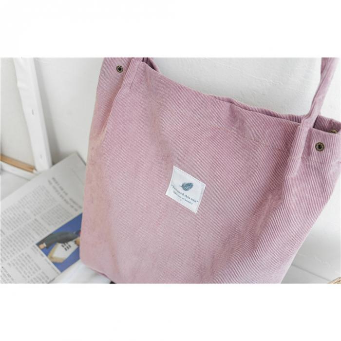 High Capacity Women Corduroy Tote Ladies Casual Shoulder Bag Foldable Reusable Shopping Beach Bag WML99 13