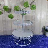 New Round IRON White Cupcake Stand Wedding Display Cake Tower 3 Tier