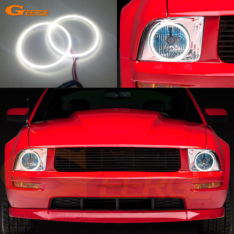 For Ford Mustang 2005 2006 2007 2008 2009 headlight Excellent Ultra bright illumination smd led Angel Eyes Halo Ring kit hochitech excellent ccfl angel eyes kit ultra bright headlight illumination for dodge charger 2005 2006 2007 2008 2009 2010