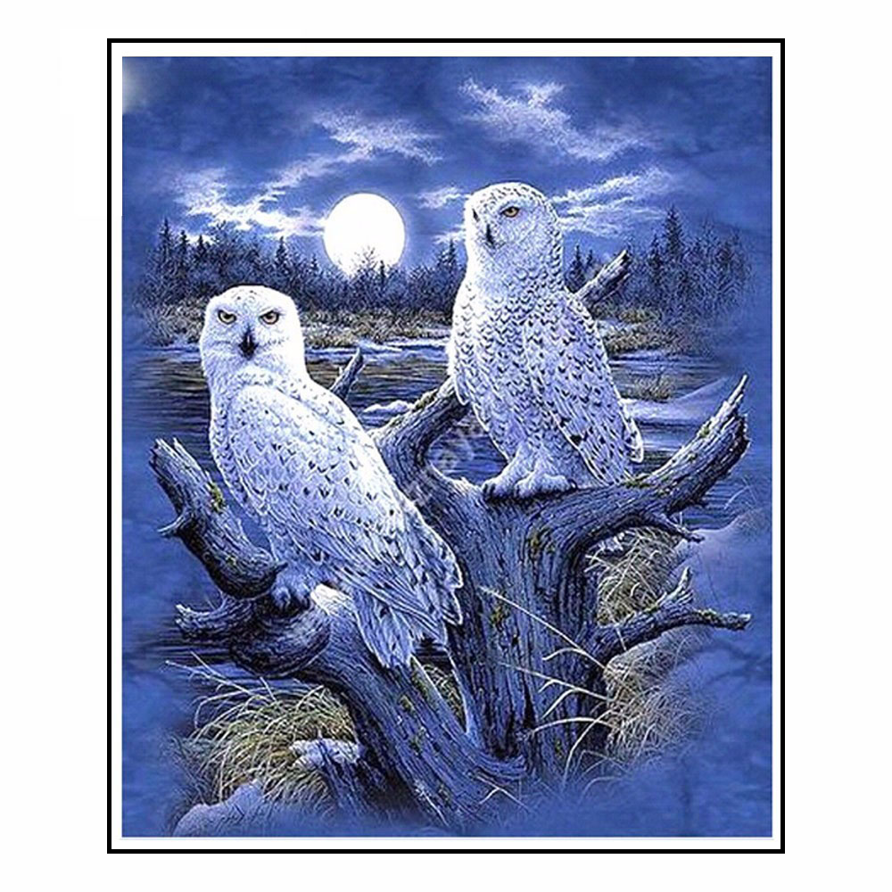 3D DIY Diamond Painting Owl Crystal 5D Diamond Embroidery Cross Stitch Animal Night Moon Owl Needlework Scenic Home Decorative ...