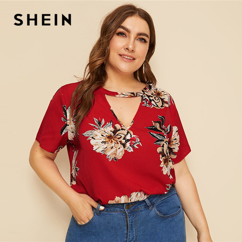SHEIN Plus Size Red Choker Neck Flower Print Top   Blouse   2019 Women Summer Casual Keyhole Neckline Cut Out Plus   Blouses     Shirt