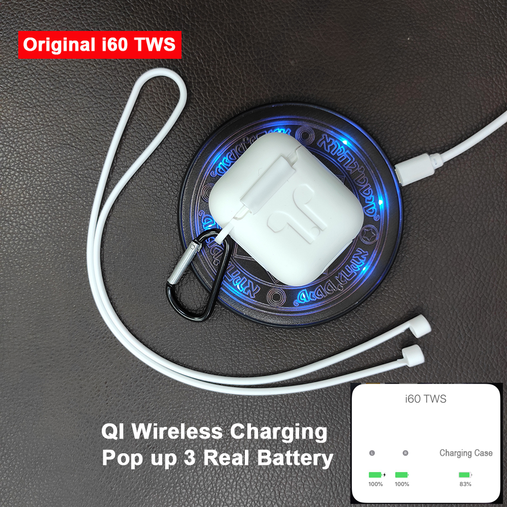 i60 TWS Pop up 1:1 Replica Separate use Wireless Earphone QI Wireless Charging Bluetooth 5.0 Earphones Bass Earbuds PK i20 i30 Стикер